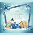 christmas holiday background with 2018 and gift vector image