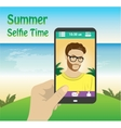 flat character taking selfie by mobile phone on vector image