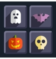 Halloween flat icons badges set vector image