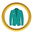Mans green jacket icon vector image