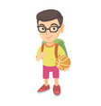 schoolboy with backpack holding a basketball vector image