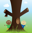 tree and kids in nature vector image