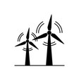 wind turbine silhouette icon in flat style vector image