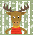 elk on background of birch trees vector image
