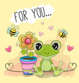 greeting card cute cartoon frog with flower vector image