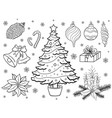 set of hand drown christmas elements vector image