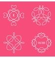 set of outline emblems and badges vector image