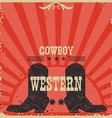 Western Cowboy boots background red card vector image