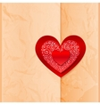 Craft paper folder closed by heart sticker vector image