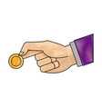 drawing hand man business with coin money icon vector image