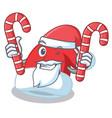 santa with candy christmas hat character cartoon vector image