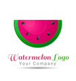 Watermelon Volume Logo Colorful 3d Design vector image