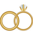 white background with wedding rings vector image