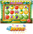 Game template with fruits vector image