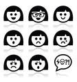 Smiley girl or woman faces avatar icons vector image