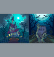scary landscapes with old house and zombie at vector image