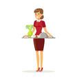 cheerful waitress character wearing uniform vector image