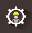 construction man work inside gear concept dark vector image