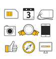 Different web lineart icons collection vector image
