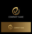 ecology leaf organic gold logo vector image