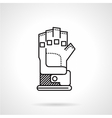 Paintball glove black line icon vector image