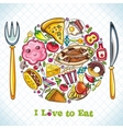 plate with food vector image