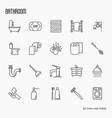 set of bathroom equipment thin line icons vector image