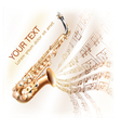 Classical saxophone on musical notes backgroud vector image vector image