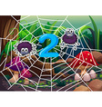 Number two with two spiders on web vector image