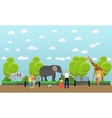 Zoo concept banner People visiting zoopark with vector image
