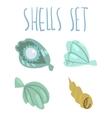 cute cartoon ocean shells set vector image