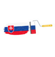 brush stroke with slovakia national flag isolated vector image