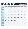 Calendar 2017 August design template Week vector image