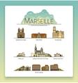 line art Marseille France travel icon set vector image
