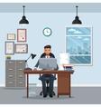 man sitting workplace cabinet file desk laptop vector image