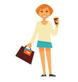 cheerful woman with coffee vector image