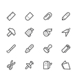 stationery black icon set vector image