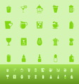 Variety drink color icons on green background vector image vector image