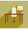 Flat with shadow icon office desk chair chart vector image