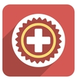 Medical Stamp Flat Rounded Square Icon with Long vector image