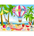 Summer theme with woman in bikini on beach vector image
