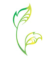 stylized silhouette of spring green tree leaf vector image