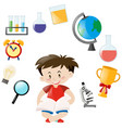 cute boy and different school objects vector image