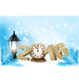 Holiday background with a 2016 made with a clock vector image