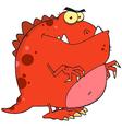 Red Dinosaur Cartoon Character vector image
