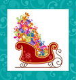 Santa sled with colorful gifts vector image