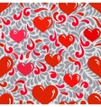 Seamless ornament with hearts and swirls vector image