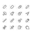 stationery black icon set vector image