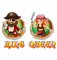 Viking king and queen on badges vector image