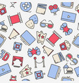 cartoon cinema seamless pattern with thin icons vector image